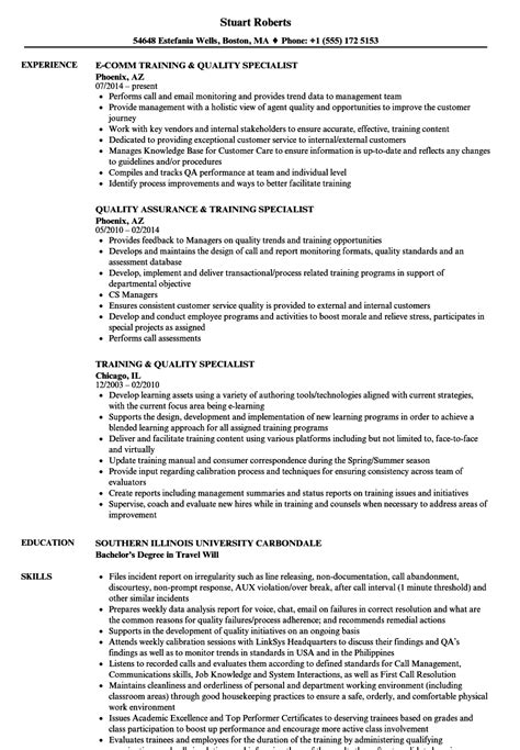 Quality Specialist Resume by Quality Specialist Resume Sles Velvet
