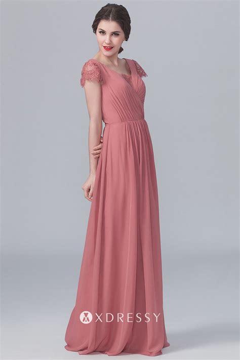 Vintage Brick Red Chiffon V-neck Cap Sleeve Dress - Xdressy