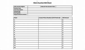 12 silent auction bid sheet templates free word excel With auction spreadsheet template
