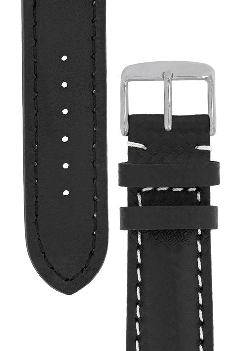 Breitling-Style Carbon-Embossed Leather Watch Strap