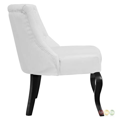royal modern button tufted vinyl accent chair w curved