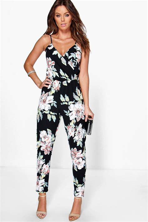 flower jumpsuit boohoo fiona floral print cami wrap strappy jumpsuit in