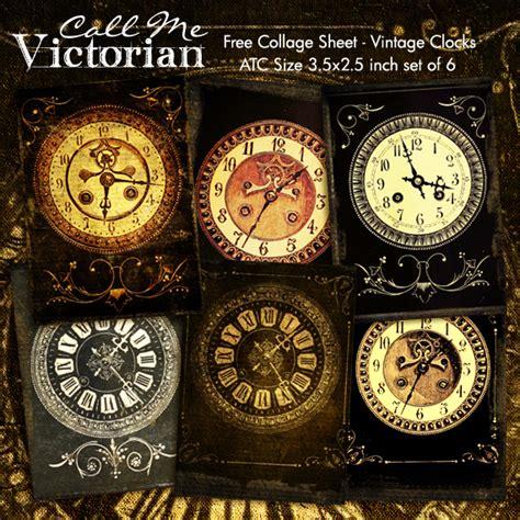 digital collage sheet vintage clocks atc cards