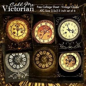 Free Digital Collage Sheet - Vintage Clocks ATC Cards