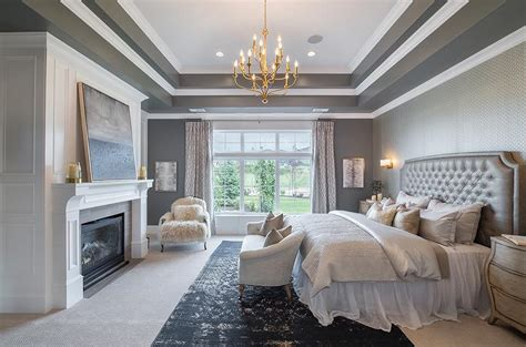 gray bedroom  tray ceiling transitional bedroom