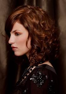 Curled medium long bob with color transitions | Side view  Medium