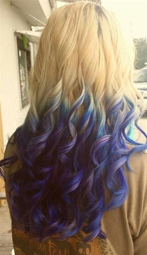 Blue And Purple Highlighted Tips On Blonde Hair Hair