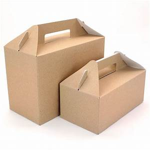5 Brown Picnic & Party Gable Boxes - 2 Sizes - Pipii