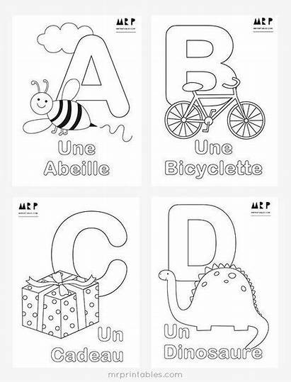 Alphabet Coloring French Pages Printables Mr Worksheets