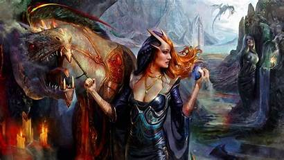 Dragon Queen Woman Fantasy Wallpapers Background Wall