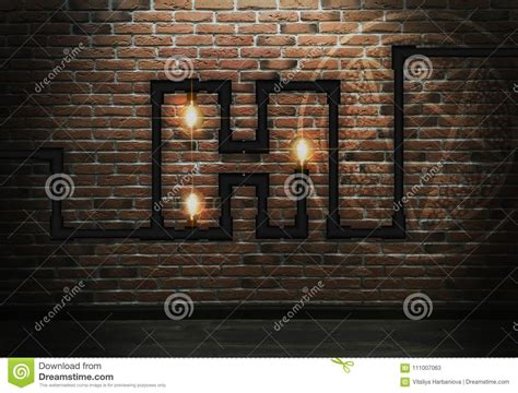 brick wall background lighting a light bulb stock