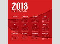 Red 2018 calendar template design vector 01 free download