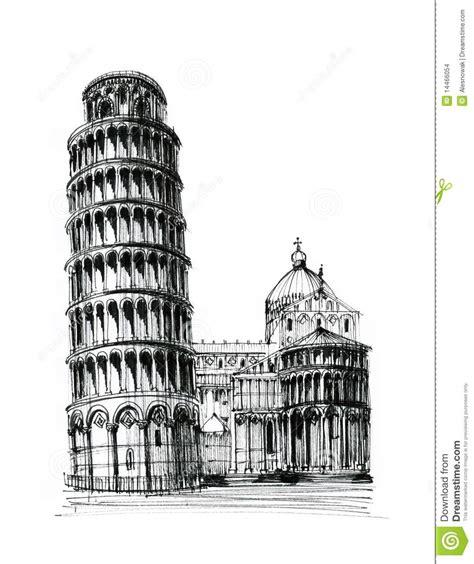 toren van pisa tekening de toren van pisa stock afbeeldingen afbeelding 14466054