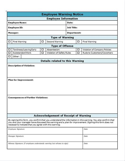 15626 employee warning form employee write up form projects to try