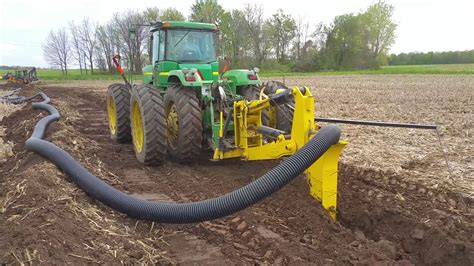 laying 8 quot field drain tile