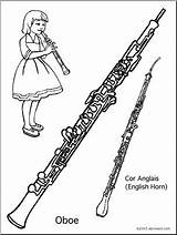 Oboe Coloring Abcteach Instrument sketch template
