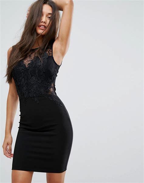 Lipsy Lace Applique Dress by Keegan Lipsy Lace Applique Bodycon Mini
