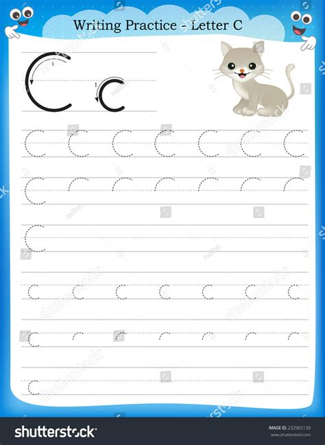 writing practice letter c printable worksheet for 906 | stock vector writing practice letter c printable worksheet for preschool kindergarten kids to improve basic 232965139