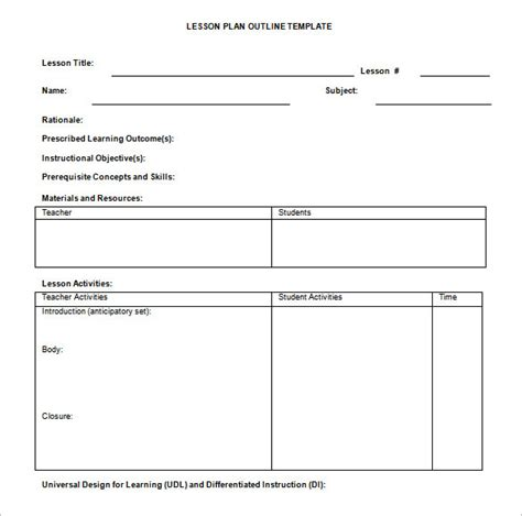 sample lesson plan outline lesson plan outline template 10 free free word pdf