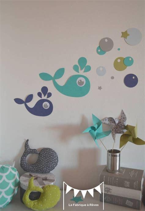 deco murale chambre bebe garcon sur commande stickers baleines vert anis turquoise bleu