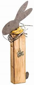 Deko Aus Holz : deko figur hase aus holz und metall mit blumen anh nger braun ~ Markanthonyermac.com Haus und Dekorationen