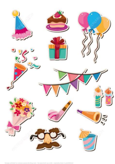 printable stickers  happy birthday party