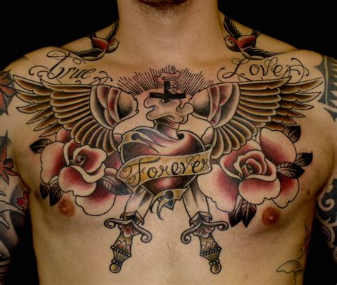 Chest Old School Tattoo  Amazing Tattoo