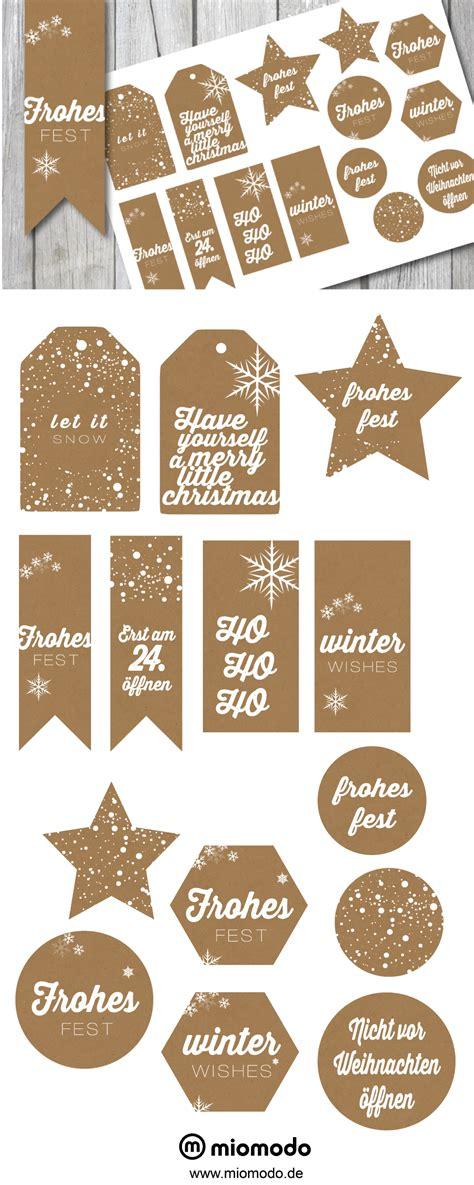geschenkanhänger weihnachten ausdrucken geschenkanh 228 nger weihnachten im kraftpapier look miomodo