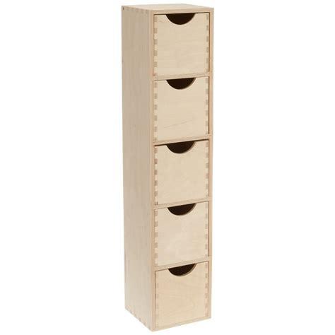 tableau memo cuisine design mini colonne bloc rangement 5 tiroirs bois brut zeller 13190