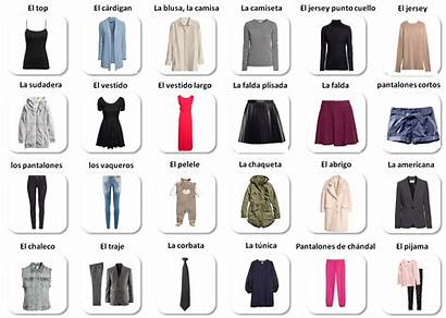 Spanish Clothes Vocabulary Vestir Prendas English Ingles