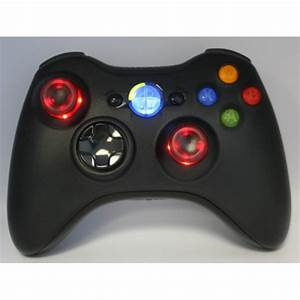 Black Lighted Guide And Thumbstick Modded Controlle W