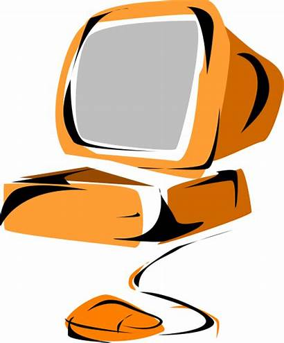 Computer Clipart Vector Clip Computers Orange Cliparts