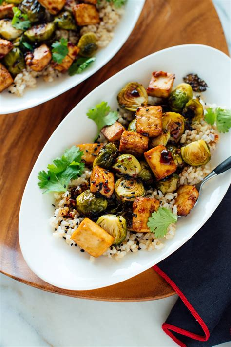 roasted brussels sprouts and crispy baked tofu with honey sesame glaze cookie and kate