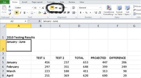 align excel  data horizontally  vertically
