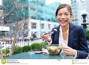 Business Woman Eating Salad On Lunch Break Stock Photo ...