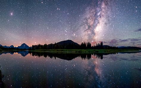 nature landscape starry night milky  lake