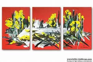 Tableau Plusieurs Panneaux : tableau triptyque rouge gris moderne en plusieurs parties ~ Teatrodelosmanantiales.com Idées de Décoration