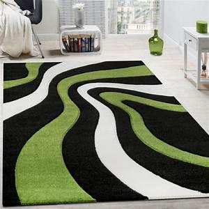 Teppich Grün Weiß : teppich modern wohnzimmer kurzflor wellen design wei schwarz gr n ausverkauf restposten ~ Indierocktalk.com Haus und Dekorationen