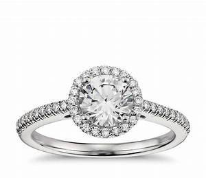 Classic halo diamond engagement ring in platinum 1 4 ct for Halo engagement rings with wedding bands