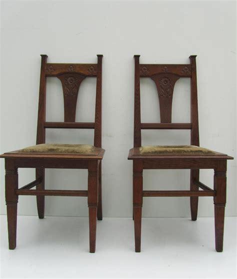jugendstil carved oak dining chairs circa 1900 set of 2