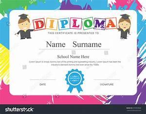 Kids Diploma Preschool Certificate Elementary School Stock ...