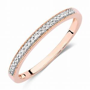 wedding band with diamonds in 10ct rose gold With gold ring wedding band