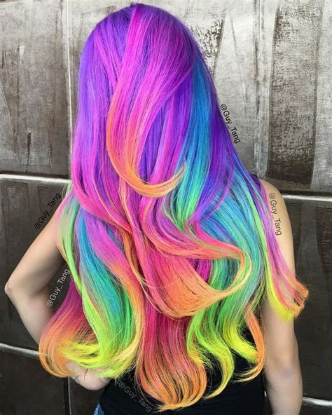 rainbow hair color pictures neon unicorn rainbow by tang fashion hair colors