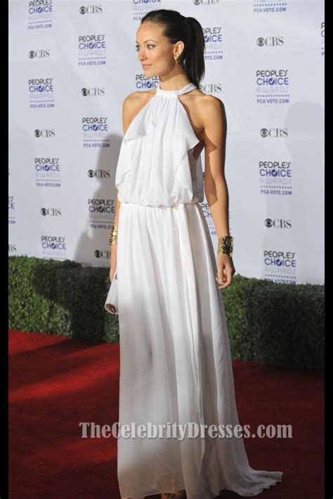 olivia wilde white chiffon evening dress peoples choice