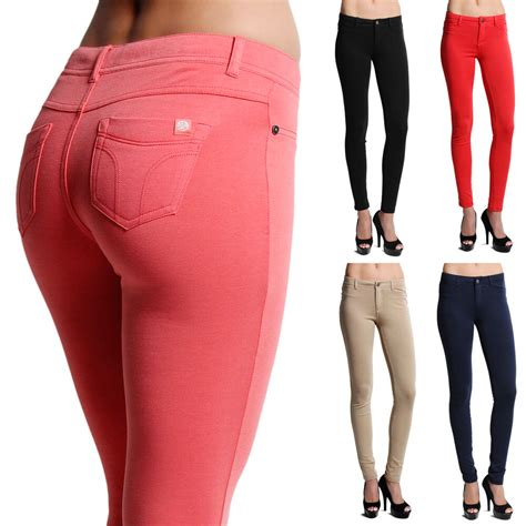 colored jeggings mogan soild stretch slim ankle colored