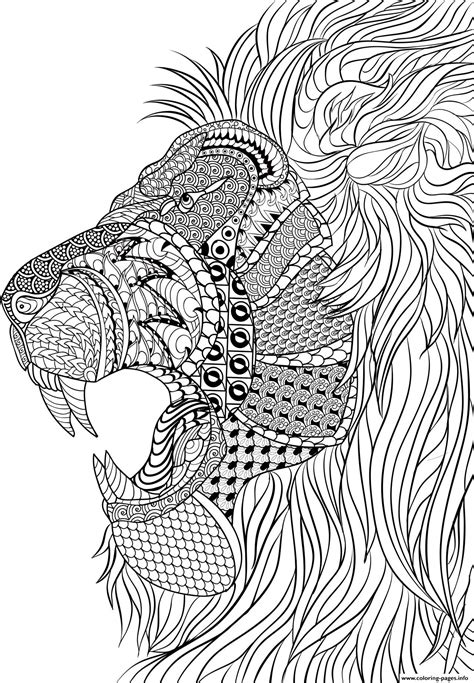 lion adult anti stress coloring pages printable