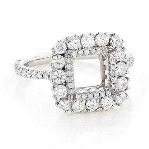 Halo diamond engagement ring setting 155ct 18k gold for Diamond wedding ring settings