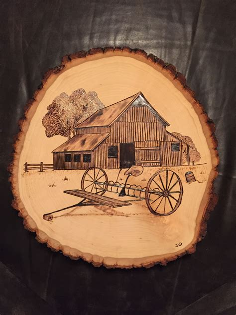 barn  rake wood burnt art  wood burning art wood