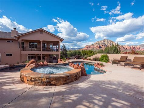 sedona cabin rentals pool spa rock views luxury