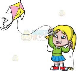 Girl Flying Kite Clip Art